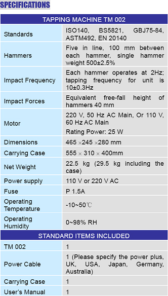hamermachine_specifications